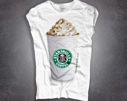 Starbucks T-shirt donna con stampato il bicchiere del cappuccino di Starbucks