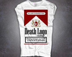 sigarette t-shirt con stampa pacchetto Marlboro rosse con scritta death logo