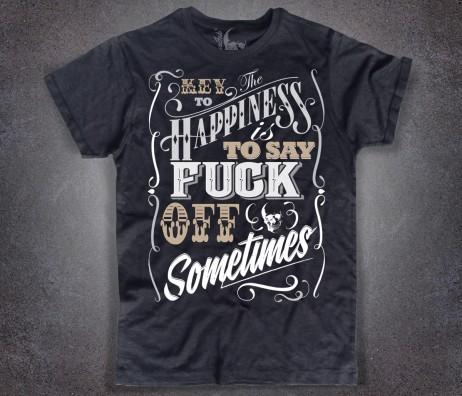 key to happiness T-shirt uomo nera il segreto della felicità è dire fuck ogni tanto