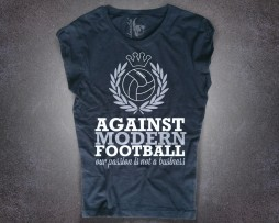 t-shirt donna nera no al calcio moderno, against modern football our passion not a business, tifosi ultras