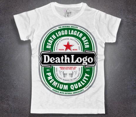 birra t-shirt uomo bianca con marchio heineken reinterpretato in chiave death logo