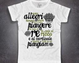 Jannacci t-shirt bianca uomo ho visto un re, testo della canzone di Dario Fo ed Enzo Jannacci