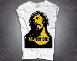kill your idols T-shirt Donna Bianca stampa immagine Gesù e scritta kill your idols