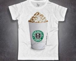 Starbucks t-shirt uomo con stampato il bicchiere del cappuccino Starbucks