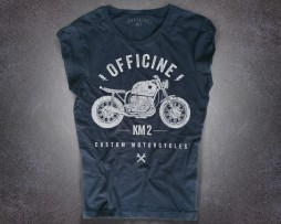 Motorcycle T-shirt donna nera con logo classico frontale Officine Km 2