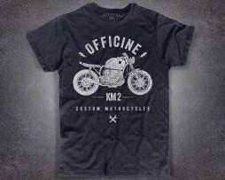 Motorcycle T-shirt uomo nera con logo classico frontale Officine Km 2