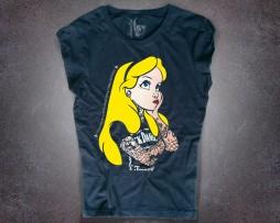 alice tatuata T-shirt donna nera