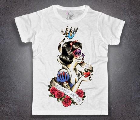 Biancaneve t-shirt uomo bianca raffigurate Biancaneve tatuata