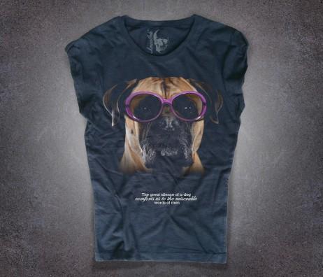 boxer t-shirt nera donna