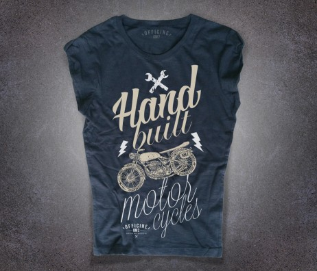 Motorcycles T-shirt donna nera Officine km 2 con scritta hand built motorcycle