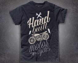 Motorcycles T-shirt uomo nera Officine km 2 con scritta hand built motorcycles