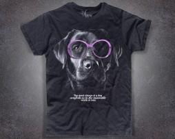 Labrador T-shirt uomo nera cane con occhiali