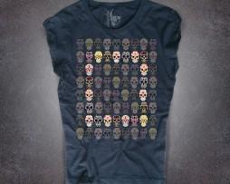mexican skulls T-shirt donna nera teschi messicani