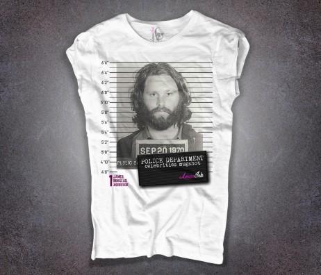 jim morrison t-shirt donna bianca con stampa foto segnaletica mugshot