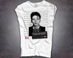 frank sinatra t-shirt donna bianca con stampa foto segnaletica mugshot