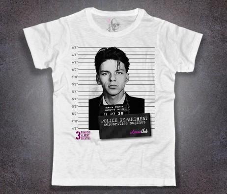 sinatra mugshot t-shirt uomo bianca con stampa foto segnaletica