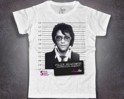 Elvis mugshot t-shirt uomo bianca con stampa foto segnaletica