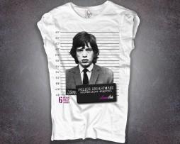 Mick Jagger t-shirt donna foto segnaletica mugshot