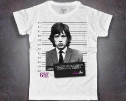 Mick Jagger t-shirt uomo bianca con stampa foto segnaletica mugshot