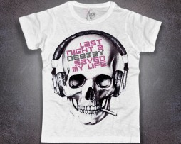 dj t-shirt uomo bianca teschio last night a dj save my life