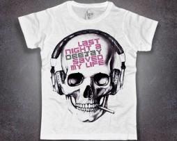 dj t-shirt uomo bianca teschio last night a dj save my life
