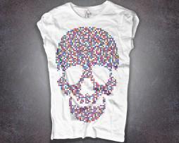 Teschio Pixel T-shirt donna stampa raffigurante teschio di pixel colorati