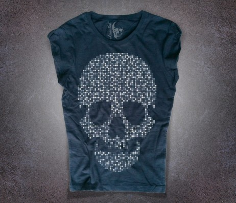 teschio t-shirt donna nera raffigurante un teschio di pixel