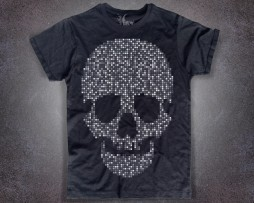 teschio pixel t-shirt uomo nera raffigurante un teschio di pixel