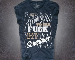 key to happiness t-shirt donna nera the key to happiness is to say kuck off sometimes