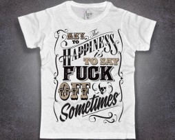 key happiness t-shirt uomo bianca the key to happiness is say fuck off sometimes