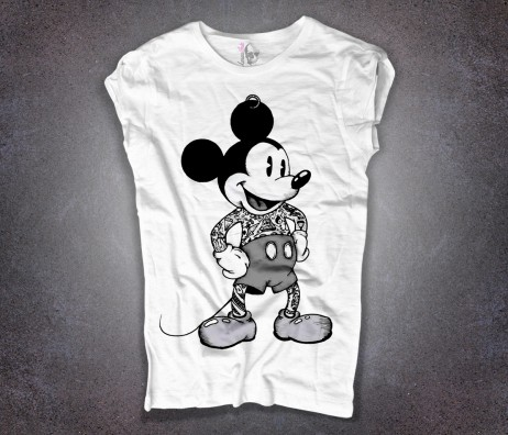 topolino T-shirt bianca tatuato mickey mouse tattoooed disney