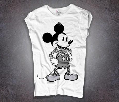 topolino T-shirt bianca tatuato mickey mouse tattoooed disney