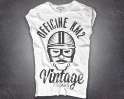 Biker T-shirt donna bianca raffigurante un retrò-racer e scritta vintage freaks