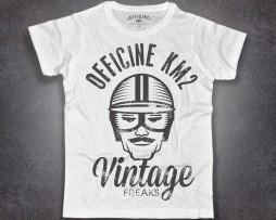 Biker T-shirt uomo bianca raffigurante un retrò-racer e scritta vintage freaks