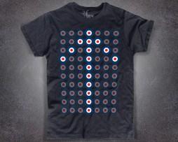 Target T-shirt uomo nera con stampato a ripetizione il target dei mods
