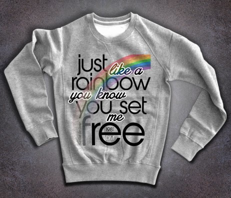 depeche mode felpa uomo con scritta just like a rainbow you know you set me free