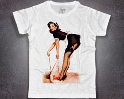 pin up t-shirt uomo bianca ragazza in divisa da cameriera