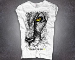 leone t-shirt donna bianca scritta stay hungry stay amazink