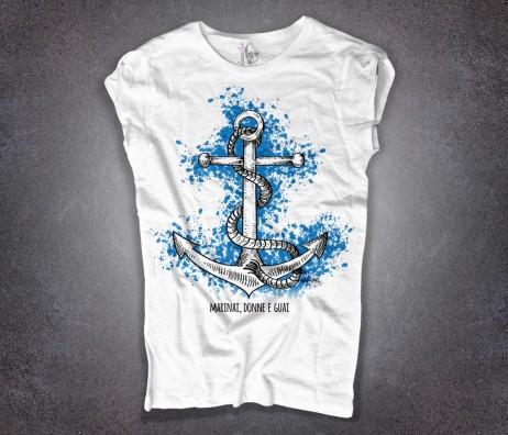 ancora t-shirt donna bianca con scritta marinai donne e guai