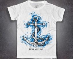 ancora t-shirt uomo bianca con scritta marinai donne e guai