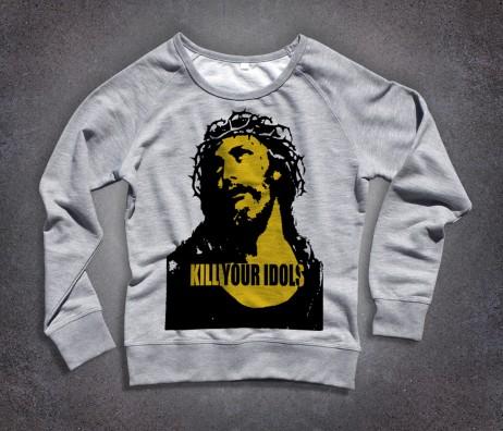 kill your idols donna felpa immagine gesù e scritta kill your idols