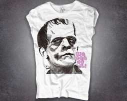 frankenstein t-shirt donna bianca con scritta we can do it