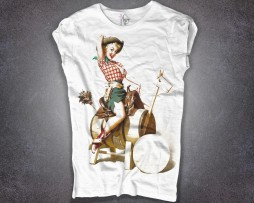 pin up t-shirt donna raffigurante una con ragazza cow girl