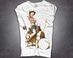 pin up t-shirt donna raffigurante una con ragazza cow girl