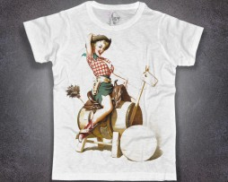 Pin Up t-shirt uomo raffigurante una con ragazza cow girl