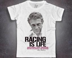 Steve McQueen T-shirt uomo con scritta racing is life