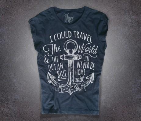 ancora tattoo t-shirt donna nera e scritta