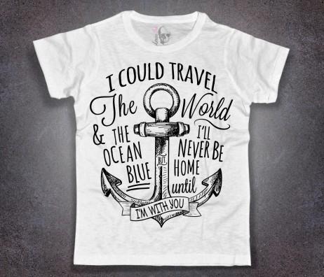 ancora tattoo t-shirt uomo bianca e scritta
