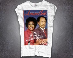 Jefferson t-shirt donna bianca raffigurante George e Whizzy