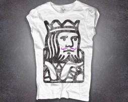 king poker t-shirt donna raffigurante l'immagine stilizzata del re delle carte da gioco